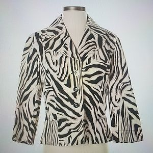 Rafaella Zebra Print Button Up Jacket Size Large